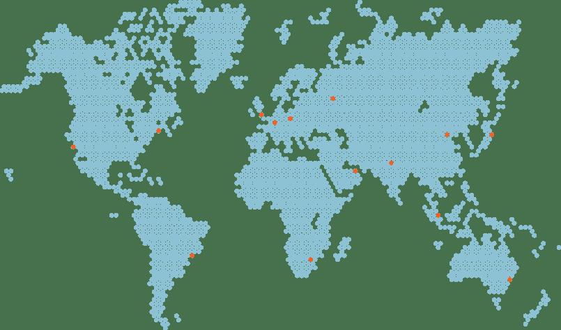 indicates the global presence of Reo's solar training programs