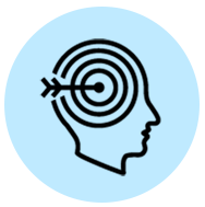blue person with arrow in the head